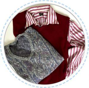 Kleidung Erinnerungskissen rot-grau mit Rüsche vorher