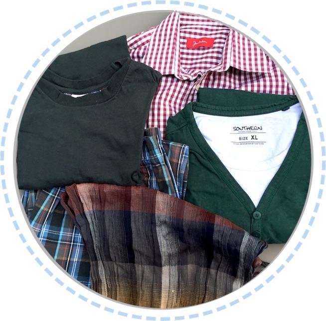 Kleidung rot-grün-grau einer Schmetterlingspuppe vorher
