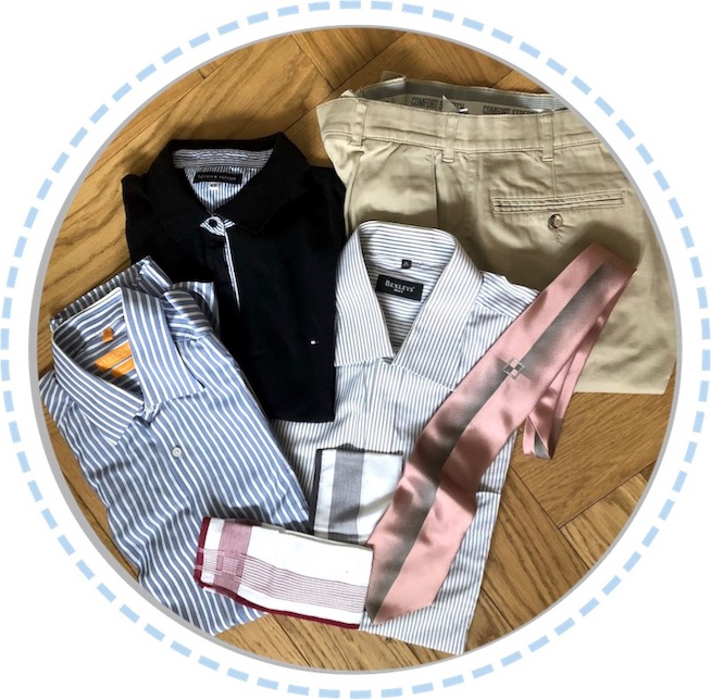 Kleidung Erinnerungskissen aus Hemden, Hose und Schlips vorher
