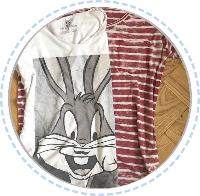 Kleidung Erinnerungskissen Bugs Bunny vorher