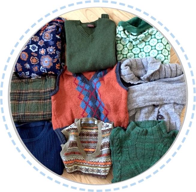 Kleidung Patchworkdecke orange-grün aus Pullovern vorher