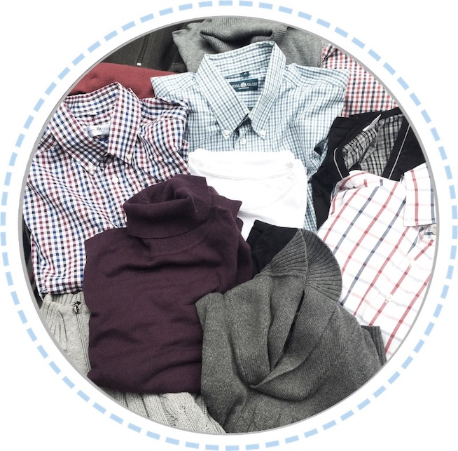 Kleidung Patchworkdecke grau aus Hemden und Pullovern vorher