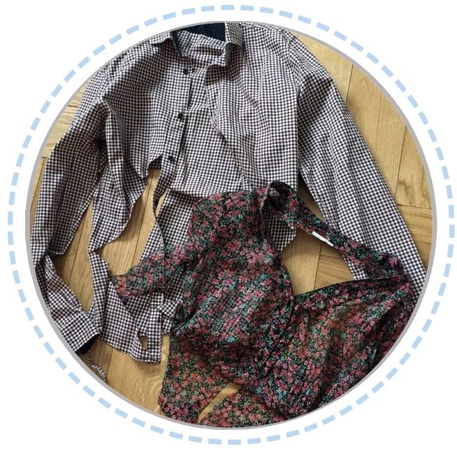 Kleidung vorher Erinnerungskissen blumig Hemd