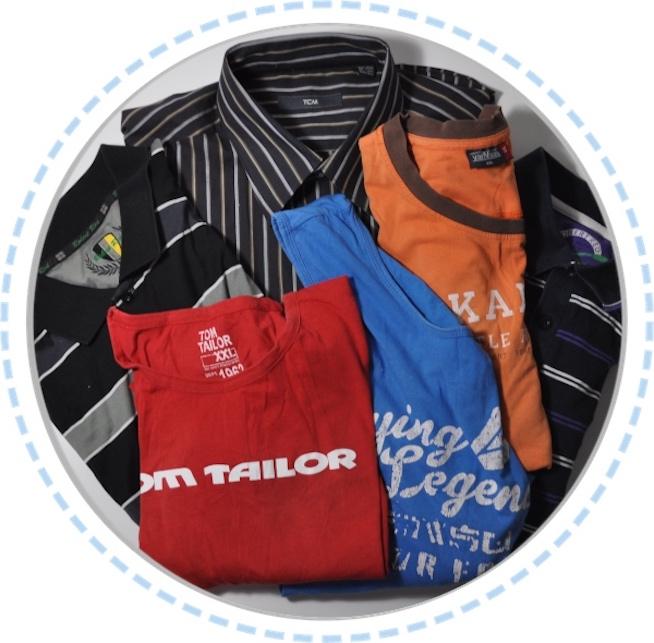 Kleidung vorher Erinnerungskissen orange blau rot schwarz Hemd