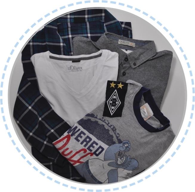 Kleidung vorher Erinnerungskissen blau grau