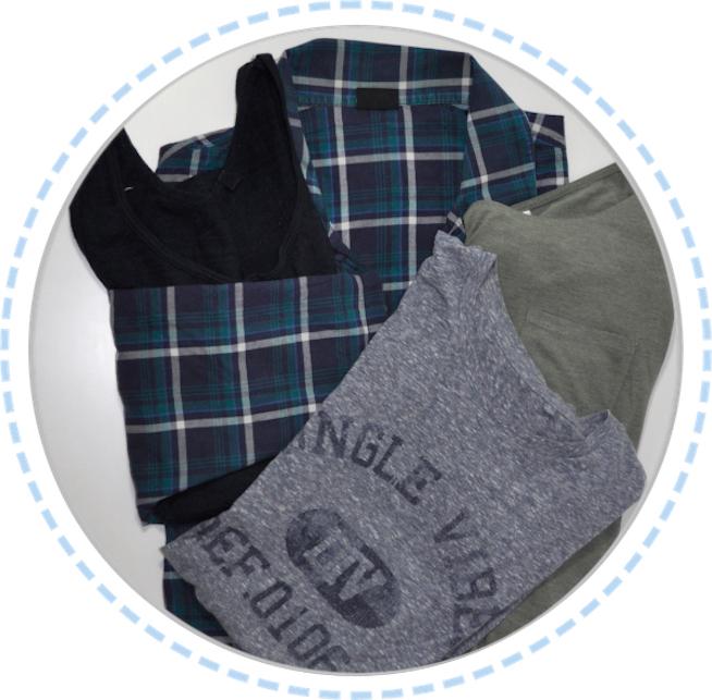 Kleidung vorher Erinnerungskissen blau grau Hemd