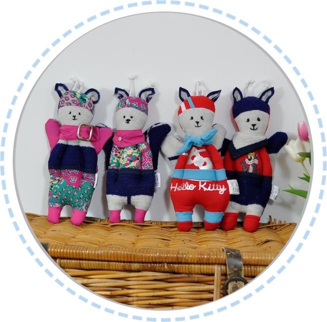 4 Schmetterlingspuppen pink blau rot Hund