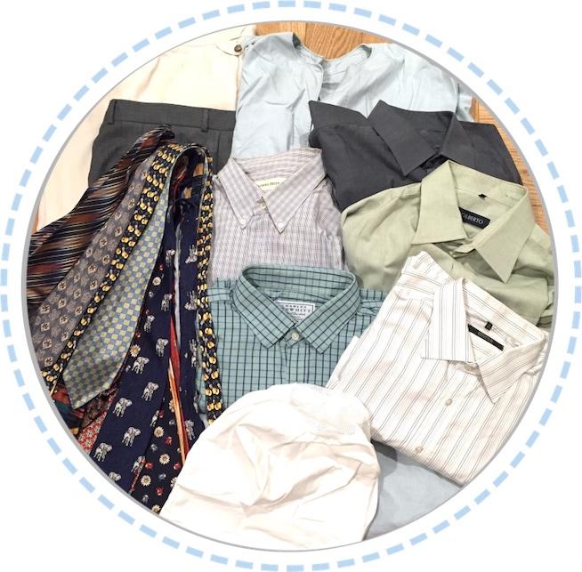 Kleidung vorher Erinnerungsstücke aus Hemden und Krawatten