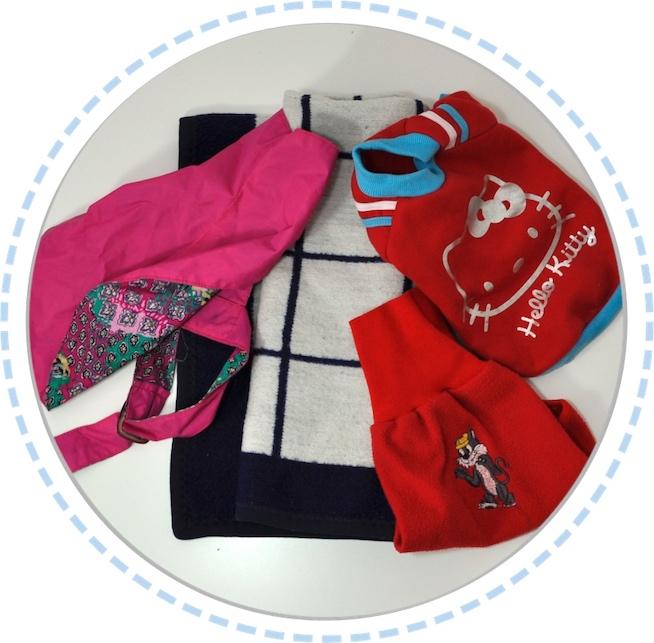 Hundedecke und Kleidung vorher Schmetterlingspuppen pink blau rot