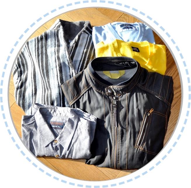 Kleidung vorher Schmetterlingspuppen blau gelb Lederjacke Bademantel