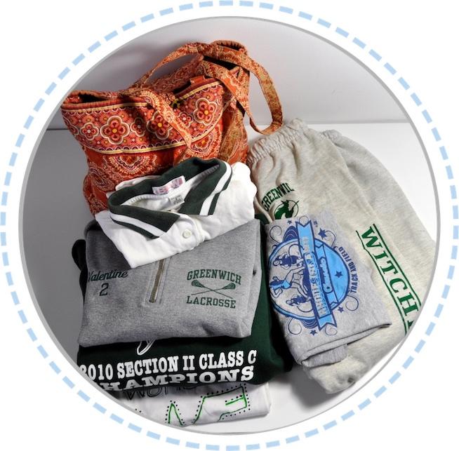 Kleidung vorher Patchworkdecke grün orange weiß