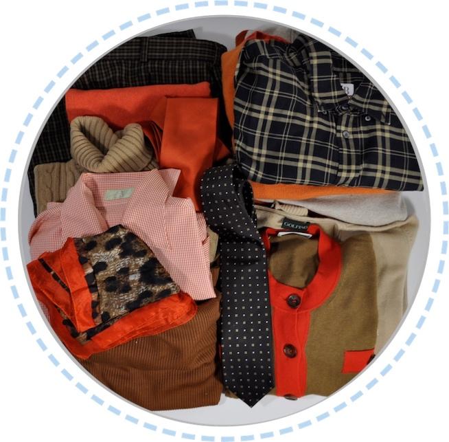 Kleidung vorher Patchworkdecke orange braun