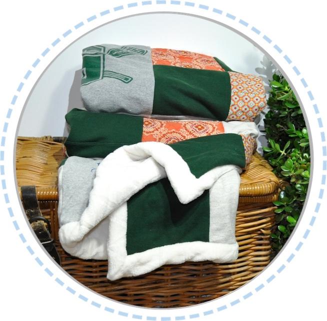 Patchworkdecke grün orange weiß gefaltet